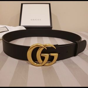 Gucci black leather gold double gg buckle belt